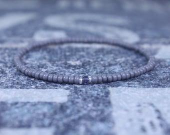 Iolite Bracelet, Mens Bracelet Iolite, Mens Gift, Mens Bracelet, Minimalist Iolite Bracelet, Beaded Bracelet, Mens Iolite Bracelet Gift