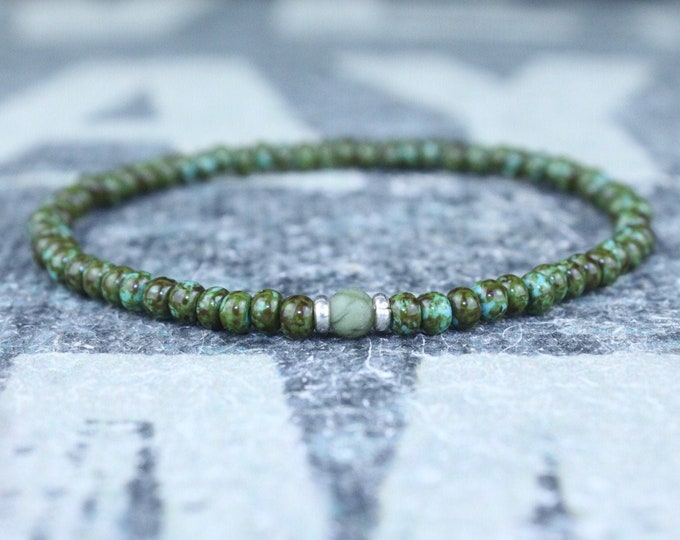Featured listing image: Mens Jade Bracelet, Mens Jewelry, Minimalist Bracelet, Gifts for Men, Anniversary Gift, Birthday Gift, Gift for Husband, Boyfriend Gift