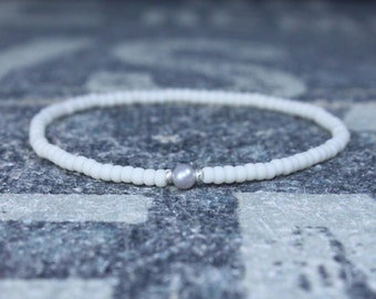 White Pearl bracelet, Mens Gift, Love Bracelet, Gift for Men, Boyfriend Gift, Husband Gift, Gift for Boyfriend, Gift for Husband, Couples