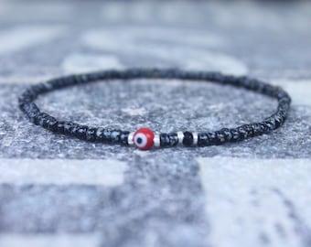 Black Spinel Bracelet, Evil Eye Bracelet, Mens bracelet, Mens Gifts, Birthday Gift for Men, Gemstone Bracelet, Spinel Birthstone bracelet