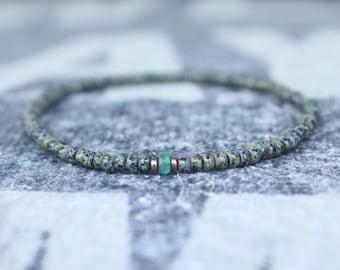Mens Emerald Bracelet, Mens Bracelet, Raw Emerald, Anniversary Gift, Mens Birthstone, Gemstone Bracelet Birthstone, Couples Bracelet