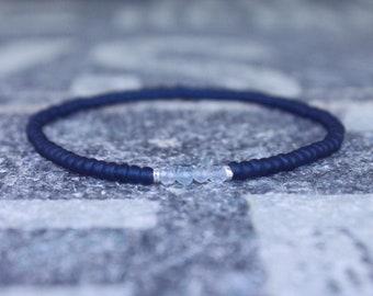Mens Aquamarine Bracelet, Mens Beaded Bracelet, Gemstone Bracelet, Mens Gift, Gift for Men, Gift for Him, couples Bracelet, Mens Bracelet