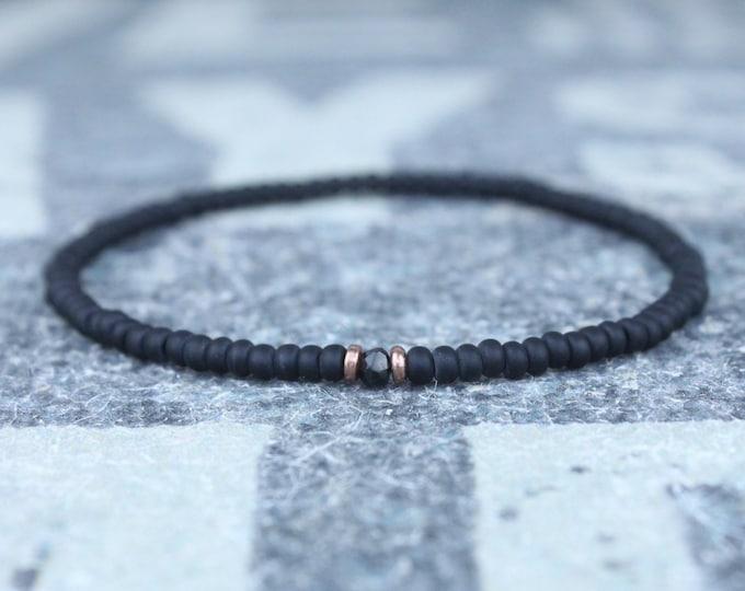 Black Spinel Bracelet for him Black Bracelet for husband Spinel jewelry gift for Men Boyfriend Gift for Husband Gift Spinel stone for him