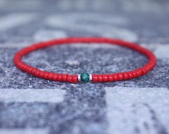 Malachite Bracelet, Mens Bracelet, Mens Beaded Bracelet, Minimalist Jewelry, Mens Gift, Gift for Him, Bead Bracelet, Green Bracelet Men