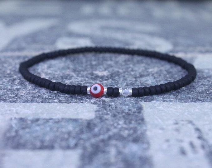 White Topaz Bracelet Men, Evil Eye Bracelet, Mens bracelet, Mens Gifts, Birthday Gift for Men, Gemstone Bracelet, Spinel Birthstone bracelet
