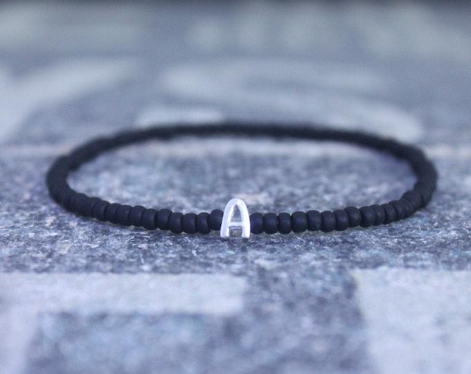 Initial Mens Bracelet, Letter Bracelet, Mens Bracelet, Monogram Bracelet, Name Bracelet, Sterling Silver Letter Bracelet, Men Gift Birthday