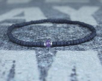 Amethyst Bracelet, Birthstone Bracelet, Gemstone Bracelet, Beaded Bracelet, gift for Men, Mens Gift, Bead Bracelet, Friendship Bracelet