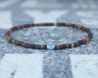 Swiss Blue Topaz Bracelet, Birthday Gift, Mens Birthstone, Men Gift, Mens Bracelet, Gemstone Men, Minimalist Bracelet, Beaded Bracelet