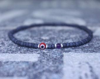 Amethyst Bracelet, Evil Eye Bracelet, Mens bracelet, Mens Gifts, Birthday Gift for Men, Gemstone Bracelet, Birthstone bracelet, Bracelet Men