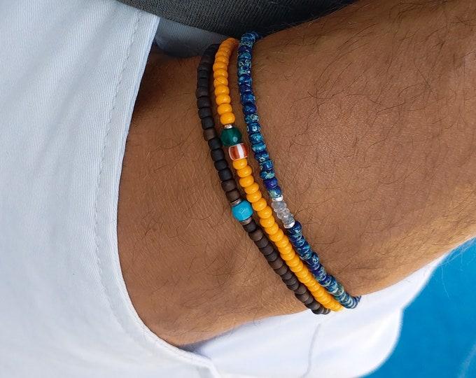 Turquoise Bracelet, Aquamarine Bracelet, Green Onyx Bracelet, Mens Birthday Gift, Mens Bracelet, Minimalist Bracelet, Bracelet Set