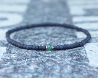 Emerald Bracelet, 24k Rose Gold vermeil, Mens Bracelet, Men Gift, Anniversary Gift, Gemstone Bracelet, Birthstone Bracelet, Couples Bracelet