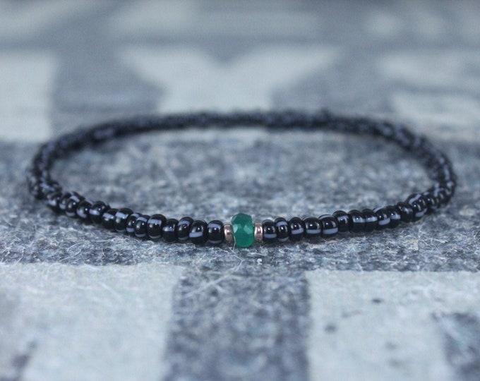 Gifts for Men, Green Onyx Men, 24k Rose Gold vermeil, Onyx Mens Bracelet, Beaded Bracelet, Boyfriend Gift, Gift for Boyfriend, Gifts for Him