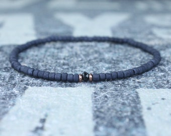 Black Spinel Bracelet for him Black Bracelet for husband Spinel jewelry gift for Men Boyfriend Gift for Husband Gift Spinel stone for him