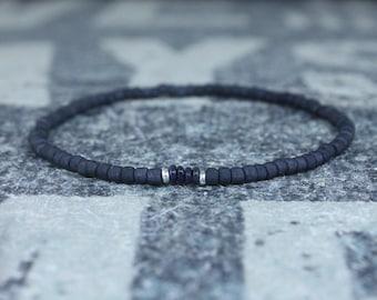 Opal Bracelet, Black Ethiopian Opal, Mens Jewelry, Boho Bracelet, Minimalist Bracelet, Mens Gift, Boyfriend Gift, Gift for Men