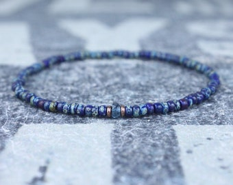 London Blue Topaz Bracelet, Birthday Gift, Mens Birthstone, Mens Gift, Mens Bracelet, Minimalist Bracelet, Beaded Bracelet