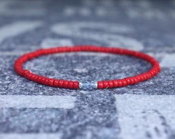 Sky Blue Topaz Bracelet, Birthday Gift, Mens Birthstone, Men Gift, Men Bracelet, Gemstone bracelet, Minimalist Bracelet, Beaded Bracelet