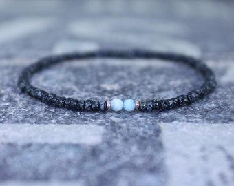 Larimar Bracelet, Mens Bracelet, 24k Rose Gold Vermeil, Mens Jewelry, Mens Beaded bracelet, As seen in GQ, Glamour, Husband Gift