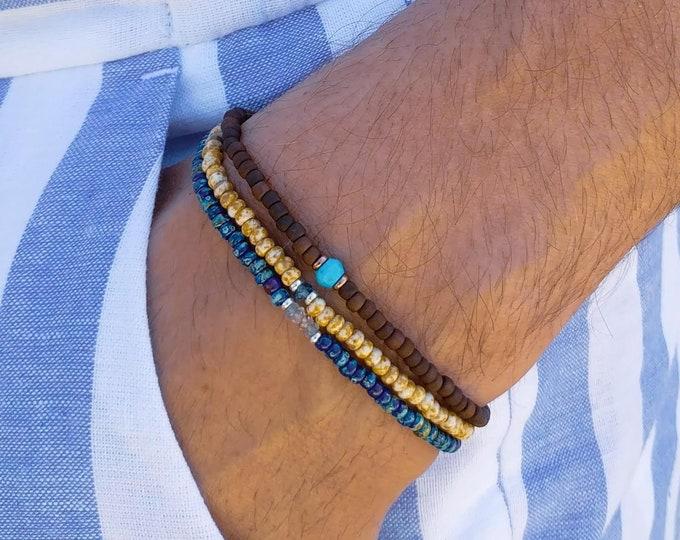 Turquoise Bracelet, Aquamarine Bracelet, London Blue Topaz Bracelet, Mens Birthday Gift, Mens Bracelet, Minimalist Bracelet, Bracelet Set