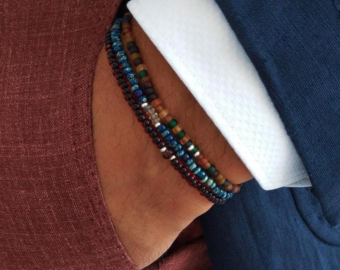Featured listing image: Aquamarine Bracelet, Tourmaline Bracelet, Garnet Bracelet, Birthday Gift, Mens Gift, Mens Bracelet, Minimalist Bracelet, Bracelet Set