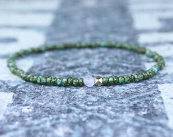Mens rose quartz bracelet - Mens love enhancer - 24K Gold vermeil nugget - Seed Bead men, Mens gift for him Husband Gift , Mens Seed Bead
