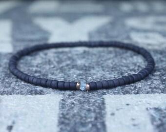 Aquamarine Bracelet, Mens Beaded Bracelet, 24k Rose Gold vermeil, Husband Gift, Boyfriend Gift, Couples Bracelet, Mens Bracelet