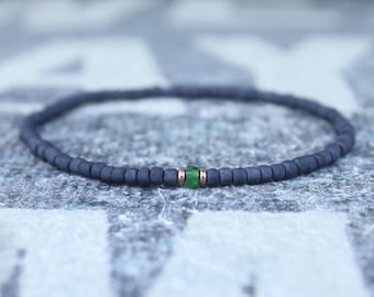 Green Tourmaline Bracelet, Mens Jewelry, Minimalist Bracelet, Gifts for Men, Anniversary, Birthday Gift, Gift for Husband, Boyfriend Gift