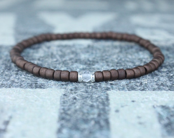 White Topaz Bracelet, Birthday Gift, Mens Birthstone, Men Gift, Mens Bracelet, Gemstone Men, Minimalist Bracelet, Beaded Bracelet