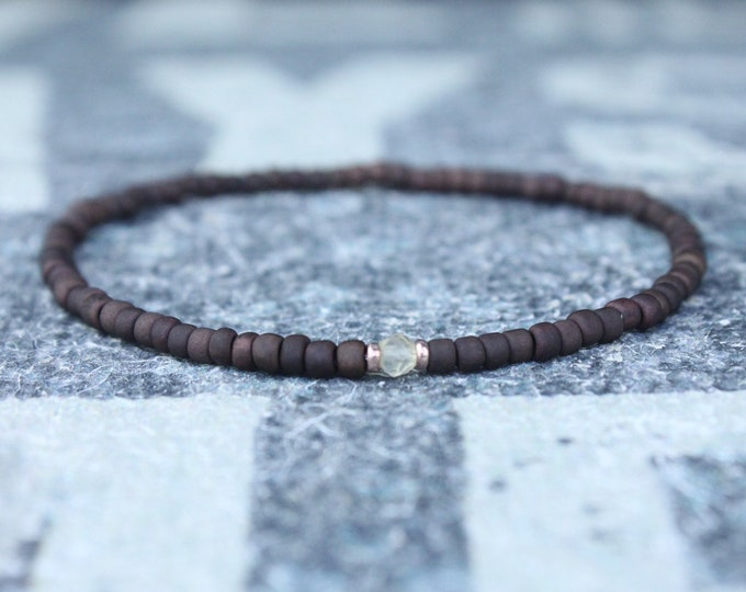 Citrine Bracelet, Mens Jewelry, Gift for Husband, Boyfriend Gift, 24k Rose Gold vermeil, Anniversary Gift for Him, Mens Bracelet, Mens Gifts