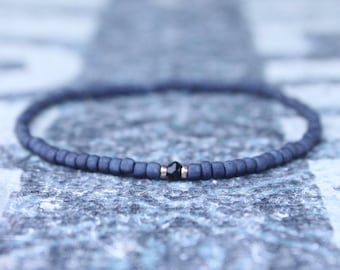 Men's Bead Bracelets, Black Spinel Bracelet, 24k Rose Gold vermeil, Mens gift for him Husband Gift Mens Seed Bead Boyfriend Gift Husband