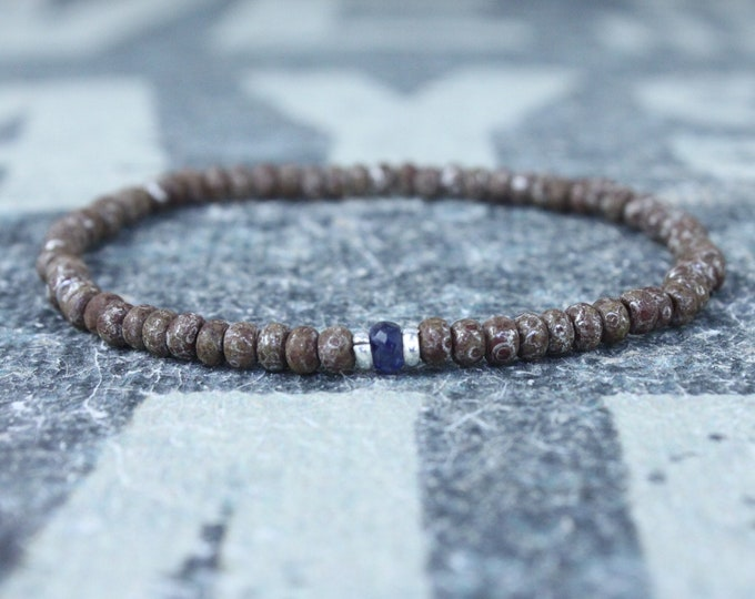 Blue Sapphire Bracelet, Mens Bracelet, Mens Jewelry, Mens Gift, September birthstone, Boyfriend gift, Husband Gift, Mens Beaded Bracelet