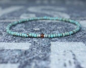 Orange Garnet Bracelet, Mens Bracelet, Mens Beaded Bracelet, Minimalist Jewelry, Men Gift, Gift Him, Beaded Bracelet, Bracelet Men, Bracelet