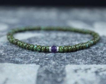 Amethyst Bracelet, Mens Jewelry, Minimalist Bracelet, Gifts for Men, Anniversary Gift, Birthday Gift, Gift for Husband, Boyfriend Gift