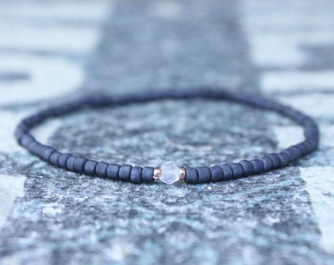 Rose Quartz Bracelet - Love Enhancer , Gift for Boyfriend - 24k Rose Gold vermeil, Men's Bead Bracelets, Husband Gift , Mens Seed Bead