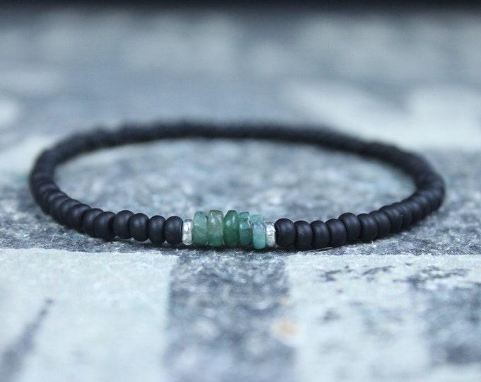 Featured listing image: Emerald Bracelet, Mens Bracelet, Raw Emerald, Anniversary Gift, Mens Birthstone, Gemstone Bracelet, Birthstone Bracelet, Couples Bracelet