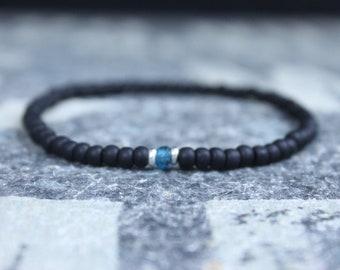 Blue Topaz Bracelet, Husband Gift,  Mens Jewelry, Boho Bracelet, Minimalist Bracelet, Mens Gift, Boyfriend Gift, Gift for Men