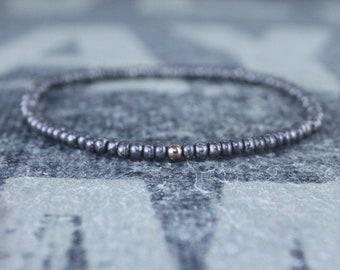 Mens Beaded Bracelet, 24k Rose Gold Filled, Mens Bracelet, Minimalist Bracelet, Mens Jewelry, Beaded Bracelet, Boyfriend Gift, Men's Gift