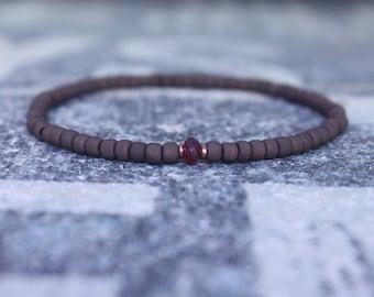 Ruby Bracelet for Men, Men Ruby Bracelet, Husband Gift,  Mens Jewelry, Men Boho Minimalist Bracelet, Mens Gift, Boyfriend Gift, Gift for Men