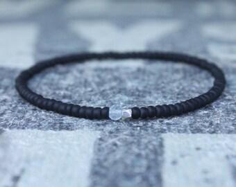Gift for Men, Mens Bracelet, Sky Blue Topaz, Birthday Gift, Mens Birthstone, Gemstone bracelet, Minimalist Bracelet, Beaded Bracelet