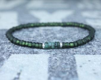 Emerald Bracelet, Mens Bracelet, Raw Emerald, Anniversary Gift, Mens Birthstone, Gemstone Bracelet, Birthstone Bracelet, Couples Bracelet