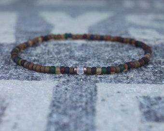 Clear Quartz Bracelet for men, Mens Clear Quartz, Gift Boyfriend, Quartz Men Bracelet Gift, Men Bead Bracelet, Husband Gift , Mens Seed Bead