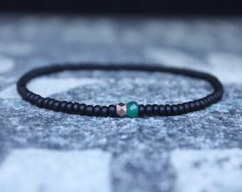 Gifts for Men, Onyx, 24k Rose Gold vermeil, Green Onyx, Mens Bracelet, Beaded Bracelet, Boyfriend Gift, Gift for Boyfriend, Gifts for Him