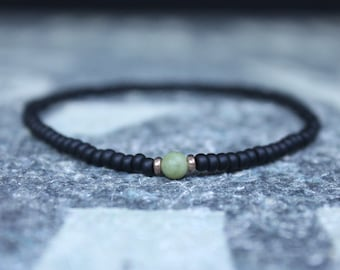 Jade Bracelet, Mens Jewelry, 24k Rose gold vermeil, Minimalist Bracelet, Gifts Men, Mens Birthday Gift, Gift for Husband, Boyfriend Gift