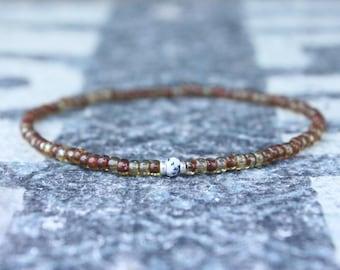 Opal Bracelet, Dendrite Opal, Mens Jewelry, Boho Bracelet, Minimalist Bracelet, Mens Gift, Boyfriend Gift, Delicate Bracelet Gift Men