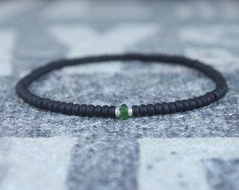 Green Tourmaline Bracelet, Mens Jewelry, Minimalist Bracelet, Gifts for Men, Anniversary, Birthday Gift, October birthstone Boyfriend Gift