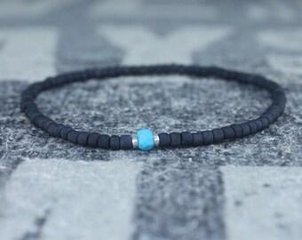 Turquoise Bracelet, Mens gifts, Gemstone bracelet, Mens Bracelet, Birthstone Bracelet, Couples Bracelet, Anniversary Gift Beaded Bracelet