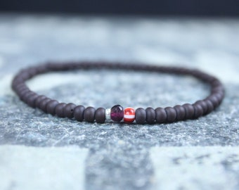 Garnet Bracelet Men, Mens Jewelry, Minimalist Bracelet, Gifts for Men, Anniversary Gift, Birthday Gift, Gift for Husband, Boyfriend Gift