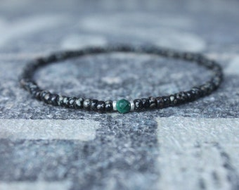Malachite Bracelet, Mens Bracelet, Mens Beaded Bracelet, Minimalist Jewelry, Mens Gift, Gift for Him, Bead Bracelet, Bracelet Men, Bracelet