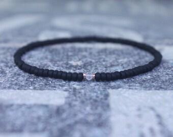 Clear Quartz Bracelet for men, Mens Clear Quartz, Gift Boyfriend, 24k Rose Gold vermeil, Men Bead Bracelet, Husband Gift , Mens Seed Bead