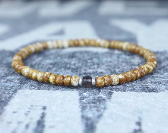 Smoky Quartz Bracelet, Mens gifts, Men bracelet, Mens Bracelet, Birthstone Bracelet, Couples Bracelet, Anniversary Gift, Beaded Bracelet
