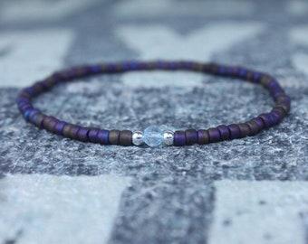 Gift for Men, Sky Blue Topaz Mens Bracelet, Birthday Gift, Mens Birthstone, Gemstone bracelet, Minimalist Bracelet, Beaded Bracelet
